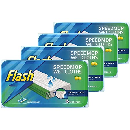 Flash Speedmop Nachfüllpackung für feuchte Tücher, Bodenreiniger, Zitronengelb, 96 Stück (24 x 4)