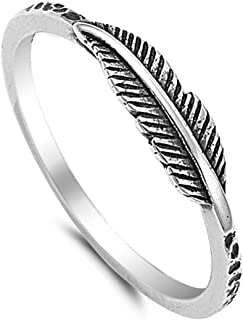 Fashion Feather Ring for Women Girls Leaf Jewelry Ring Size 4-11
