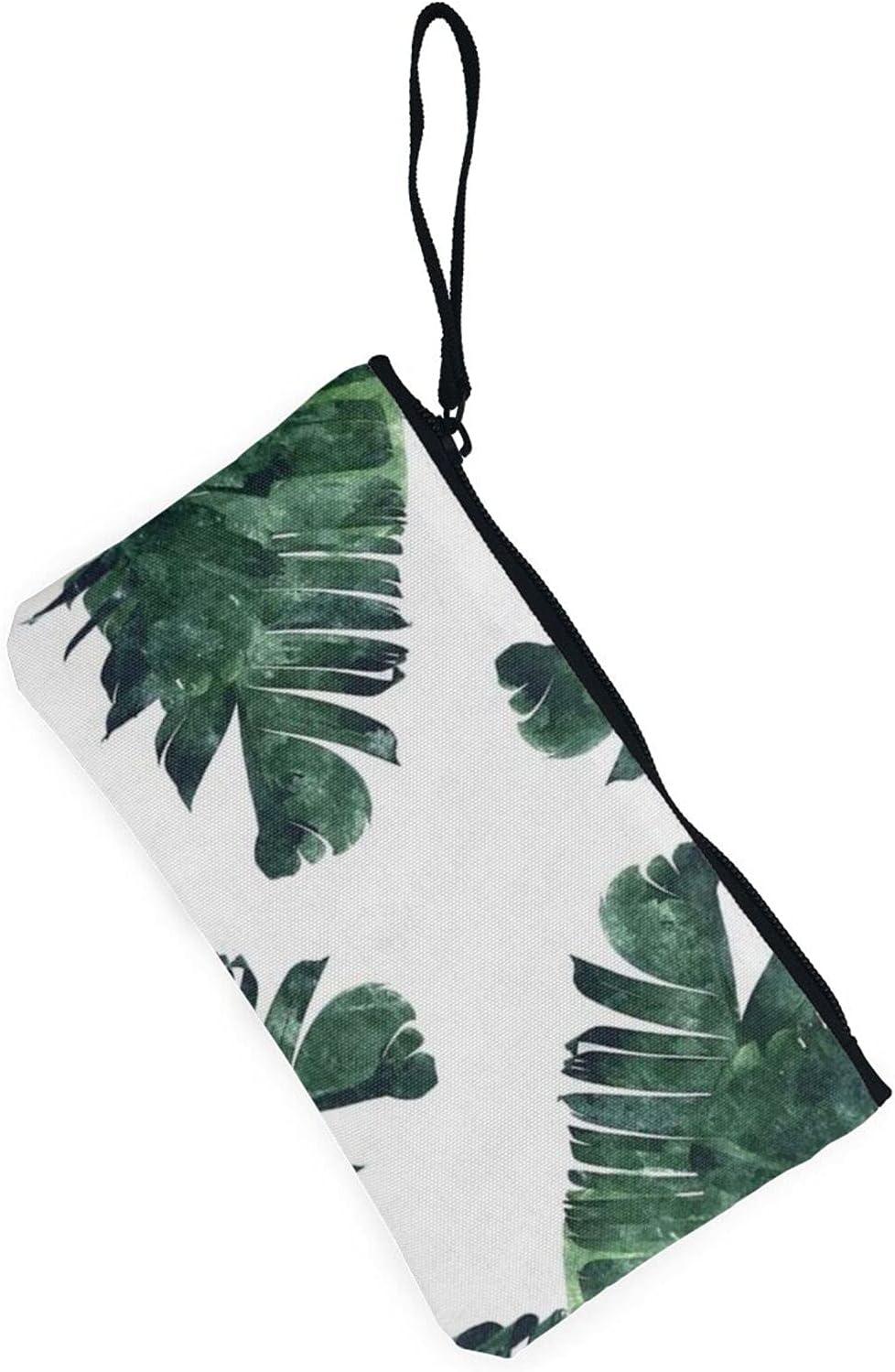 AORRUAM Palm Leaves Canvas Coin Purse,Canvas Zipper Pencil Cases,Canvas Change Purse Pouch Mini Wallet Coin Bag