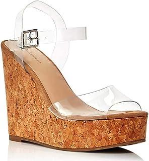 Cork Transparent PVC Buckle High-Heeled Sandals Plus Size Women's Shoes