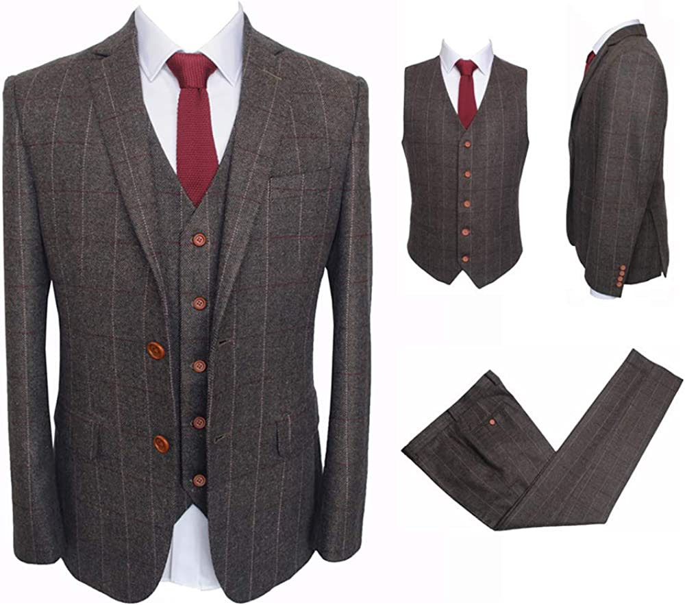Vintage Mens 3 Pieces Tailored Tan Suits Slim Ft Wool Tweed Tuxedo Groomsmen Classic Brown Dress Suit
