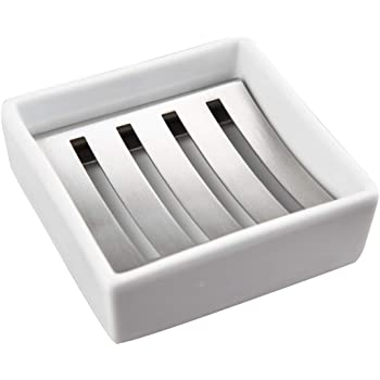 Double Layer Stainless Steel Shower Bar Soap Holder Tray w// Drainage Grid Holder