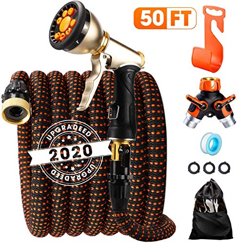 """ACSTEP Acko 2020 Upgrade Garden Hose 50FT Expandable Water Hose with 9-Function High-Pressure Spray Nozzle, Heavy Duty Flexible Hose, 3/4"""" Solid Brass Fittings Leakproof Design Orange"""