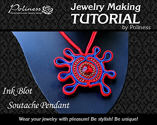 DIY Ink Blot soutache pendant with Swarovski crystal, Practical Step by step Guide on How to make Handmade Soutache Jewellery