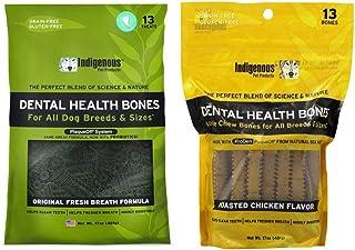 Indigenous Grain Free Dental Health Bones 2 Flavor Variety Bundle: (1) Original Fresh Breath Formula, and (1) Roasted Chic...