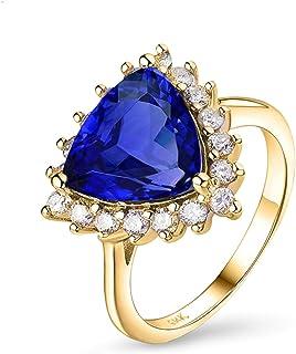 Daesar Anello Donna Oro 14K, Fedine Fidanzamento Donna Tanzanite Triangolare 3ct Anello Oro Giallo Donna