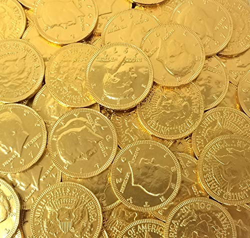 Gold Coins Milk Chocolate Candy, Large 1.5 Inch, Bulk Candy, 2 lbs