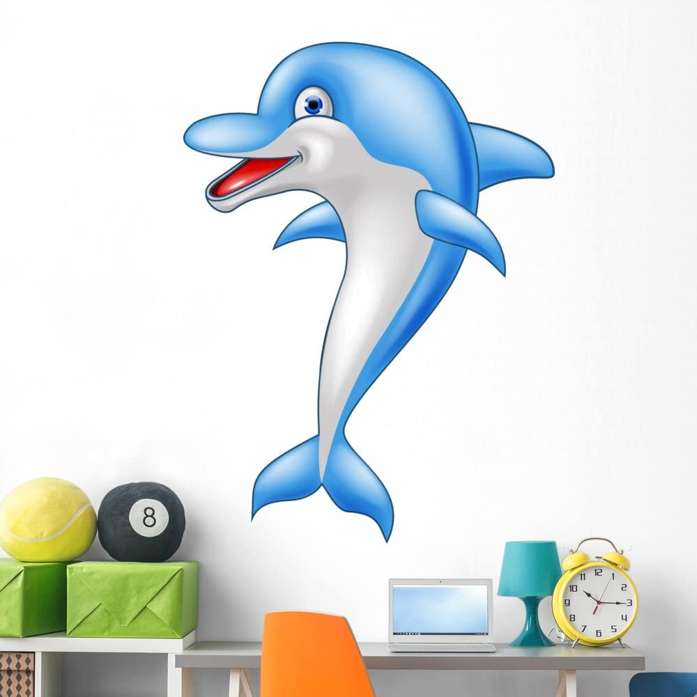 Wallmonkeys Happy Popular overseas Dolphin Cartoon Wall and Decal Grap Stick Peel Limited time for free shipping