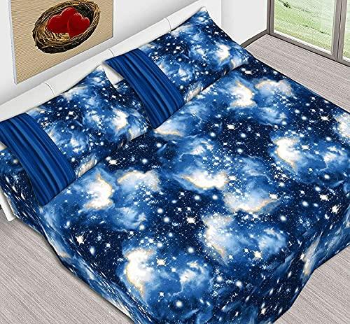 completo lenzuola piazza e mezza puro cotone sotto con angoli maxi sopra e federe stampa universo notte stellata (140 cm ( Francese ))