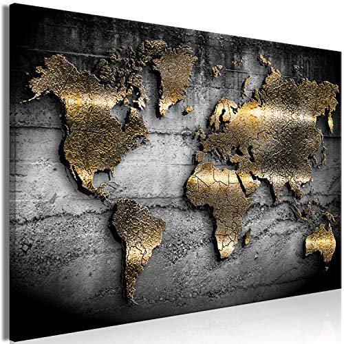 murando - Bilder Weltkarte 60x40 cm Vlies Leinwandbild 1 TLG Kunstdruck modern Wandbilder XXL Wanddekoration Design Wand Bild - Landkarte Kontinente Textur schwarz Gold Abstrakt k-A-0498-b-a