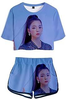 FEIRAN Manga Corta ITZY Camisetas y Pantalones Cortos para niñas con Estampado en 3D Conjunto Casual con G XXS