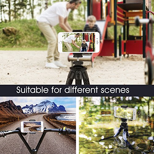 Camera/Phone Tripod,Patekfly 12 Inch Flexible Camera Tripod for Canon/Nikon/Sony DSLR Cam/Action Cam, Phone Tripod Stand with Cell Phone Holder Clip for iPhone/Android Phone(3 in 1)