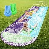 WDERNI Water Slip and Slide for Kids Adults, 15.7 FT Lawn Water Slide with 2 Surfboards, Outdoor Water Slide with Crash Pad and Splash Sprinkler Backyard