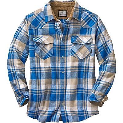 Legendary Whitetails Men's Shotgun Western Flannel, Liberty Blue Range Plaid, Large