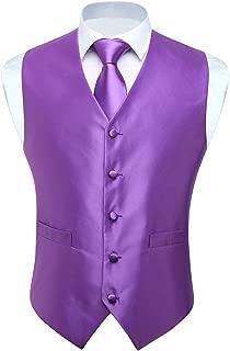 3pc Men's Solid Color Woven Dress Waistcoat & Necktie and Pocket Square Vest Suit Tuxedo Set
