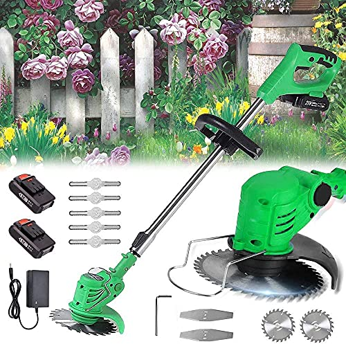 LHMYHHH Lawn Trimmer (Li-Ion 21V 15-20 cm cutting width 18000rpm Turnable Tiltable Motor Head Adjustable Additional Handle)-green