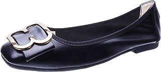 Hxlber شقق مريح للنساء لطيف قابل للطي أحذية الباليه المسطحة اصبع القدم مربع أزياء اللباس أحذية لينة خفيفة الوزن متسكعون
