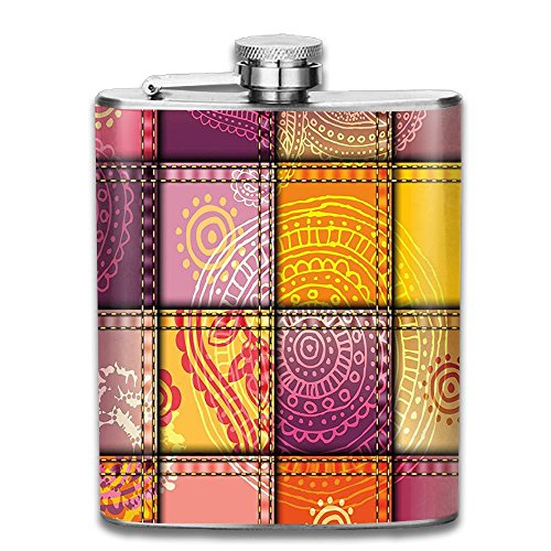 Weiheiwec 9 Ethnic Indian Oriental Asian Mandala And Paisley Motifs Boho Art Decor Wall Hanging For Bedroom Living Room Dorm 60WX80L Inches Orange Purple Stainless Steel Hip Flask 7 OZ