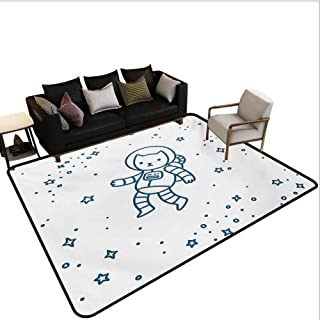 Kids Rugs for Living Room Cute Cartoon Astronaut Pioneer Cat Flying in Outer Space Doodle Style Constellation Stair Carpet Dark Blue Area 7'6x7'6