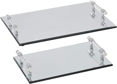 Sagebrook Home 14832 Mirrored Trays (Set of 2), Silver