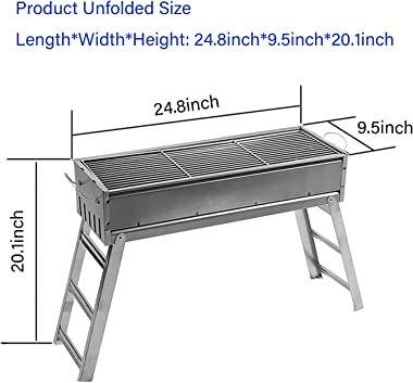 Charcoal Grill Perfect Foldable Premium BBQ Grill for Outdoor Campers Barbecue Lovers Travel Park Beach Wild Etc,for 6-8 Peop