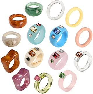AIDSOTOU 20 Pcs Resin Rings Acrylic Cute Trendy Rings Colorful Rhinestone Rings Jewelry Plastic Resin Square Gem Stackable...
