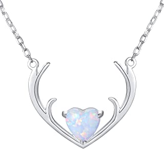 S925 Sterling Silver Heart Reindeer Elk Deer Antler Horn Necklace for Women Girl