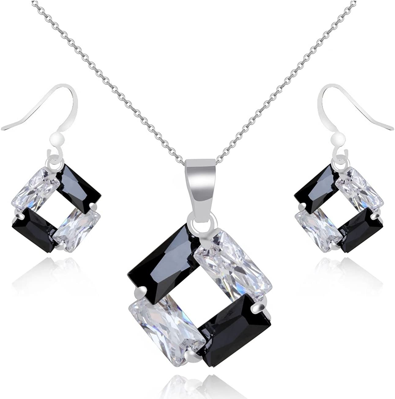 Crystalline Azuria Colorful Zirconia Crystals Rhombus Jewellery Set Pendant Necklace 18