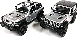 Set of 2 Jeep Wrangler Rubicon 4x4 Hard Top and Convertible Off Road Exploration Diecast Model Toy Cars in Silver