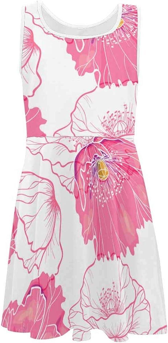 InterestPrint Girls Summer Dress Sleeveless Crew Neck Dress Pink Poppy Flowers (2T-XL)