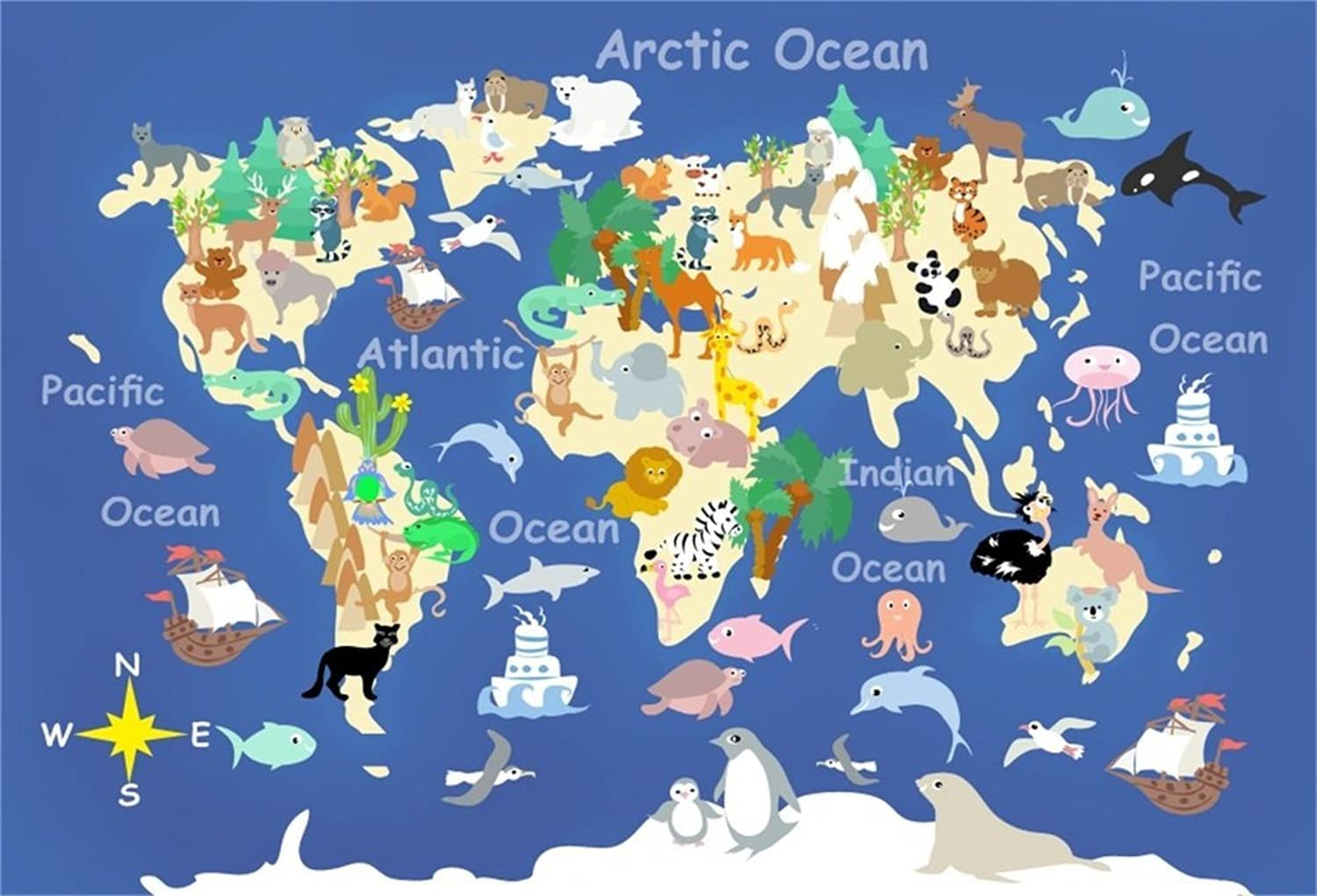 Al sold out. LFEEY In stock 5x3ft Kids World Map for Photography Backdrops Glo Cartoon