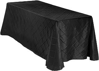 "LinenTablecloth Rectangular Pintuck Tablecloth, 90 x 156"", Black"