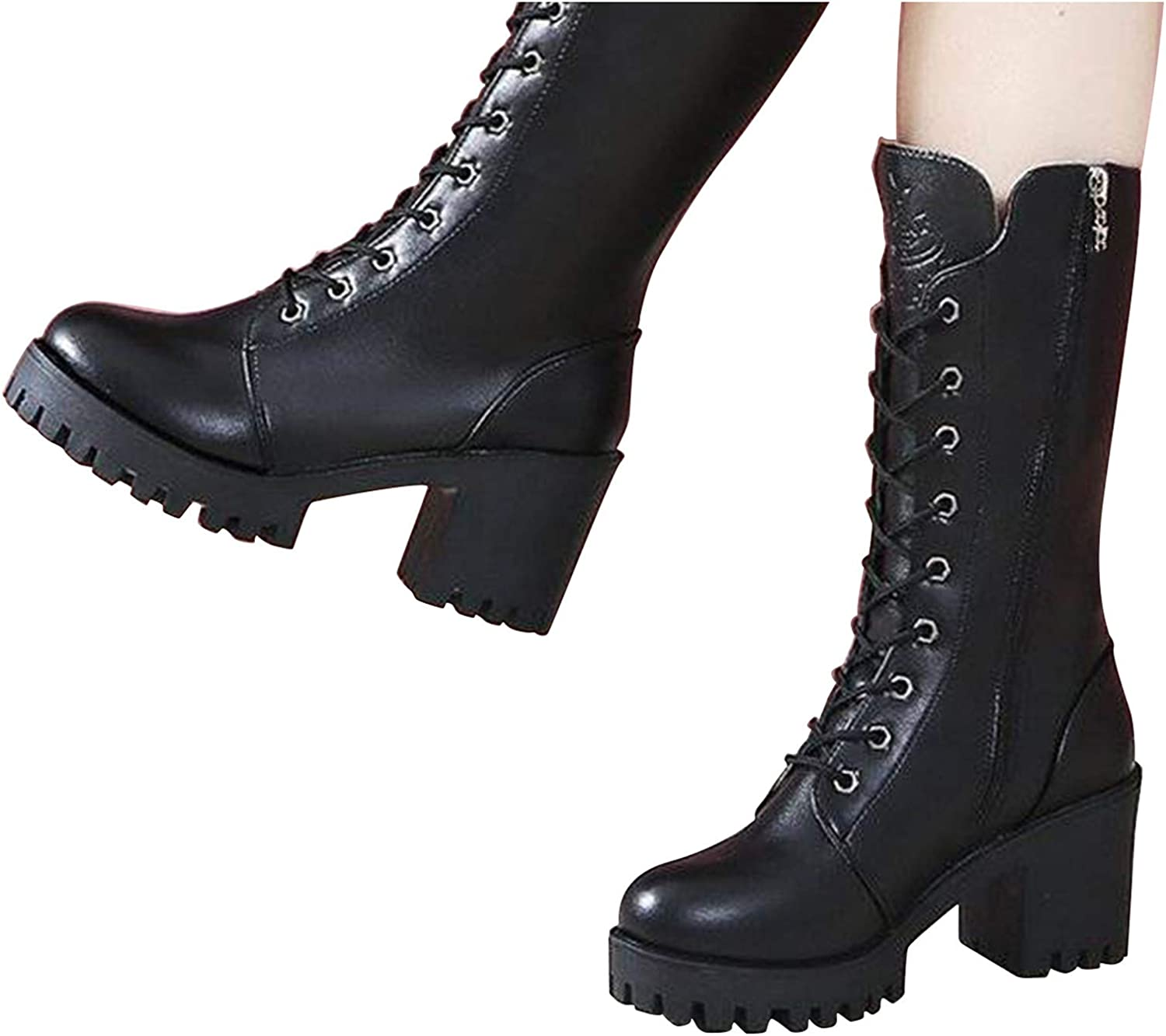 kakina Women's Mid Calf Boots Winter Lace Up Mid Calf Military C