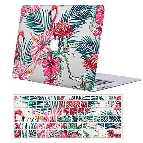 ACJYX Hard Case Compatible with MacBook Pro 15 inch 2019 2018 2017 2016 Release A1990 A1707, Hard Plastic Shell Case & Keyboard Cover for Mac Pro 15 with Touch Bar,Flamingo & Flower
