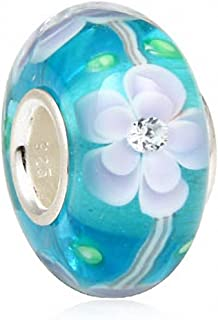 SoulBeads Handmade Sterling Silver Core Murano Glass Bead with Clear Cubic Zirconia for Charms Bracelet (blue flower)
