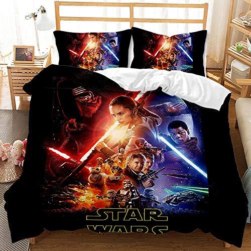 Proxiceen Juego de cama con funda nórdica y funda de almohada 3D de Star Wars (1,135 x 200 cm + 80 x 80 cm)