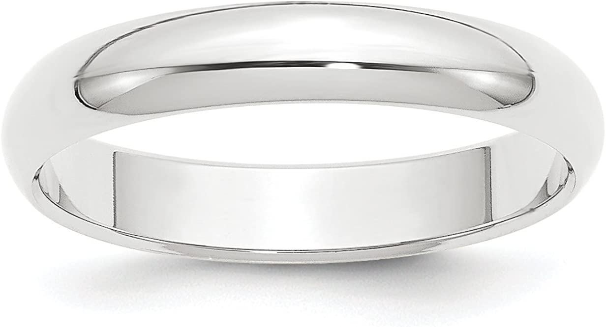 Solid Platinum 4 mm Comfort Fit Rounded Wedding Band Ring