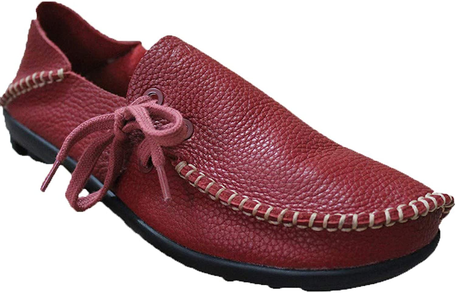 Pophight Hand Crafted Womens Leather Cowhide Casual Lace up Flat Driving Loafers Red