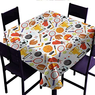 Xldavier Haro Fashions Table Cloth Sport,Abstract Cartoon Style Sporting Goods Tennis Racket Ball Bowling Star Filled Pattern,Multicolor,Dinner Kichen Home Decor 60