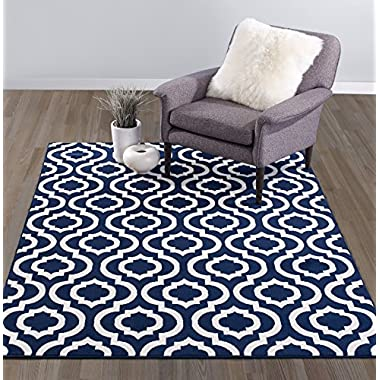 Diagona Designs Contemporary Geometric Moroccan Trellis Design 5' X 7' Area Rug, 63  W x 87  L, Navy/Ivory (JAS2035)