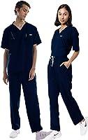 KNYA Med Unisex V Neck Scrub Suit, 5 Pockets Medical Scrub Top And Bottom (Navy Blue) | Uniform For Doctors, Nurses And...