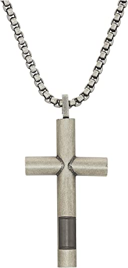 "Two-Tone Gunmetal Cross Necklace with 18"" Box Chain"