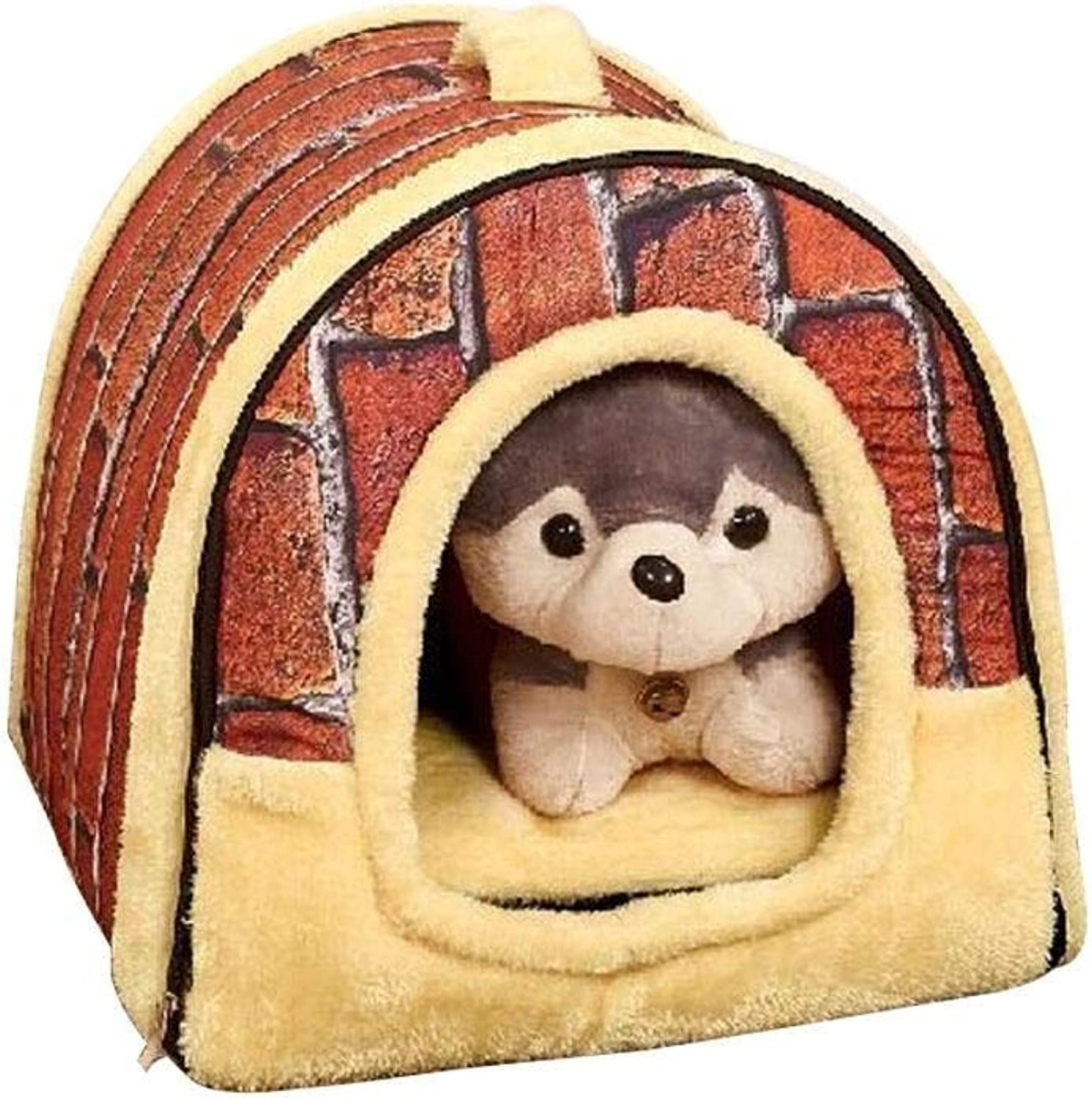 CHONGWFS Indoor Outdoor Pet Home Dog Beds Soft Warm Star Pattern 2 in 1 Pet House and Sofa,Dog Cat Bed Foldable Winter Soft Cozy Sleeping Bag Mat (color   A, Size   M)
