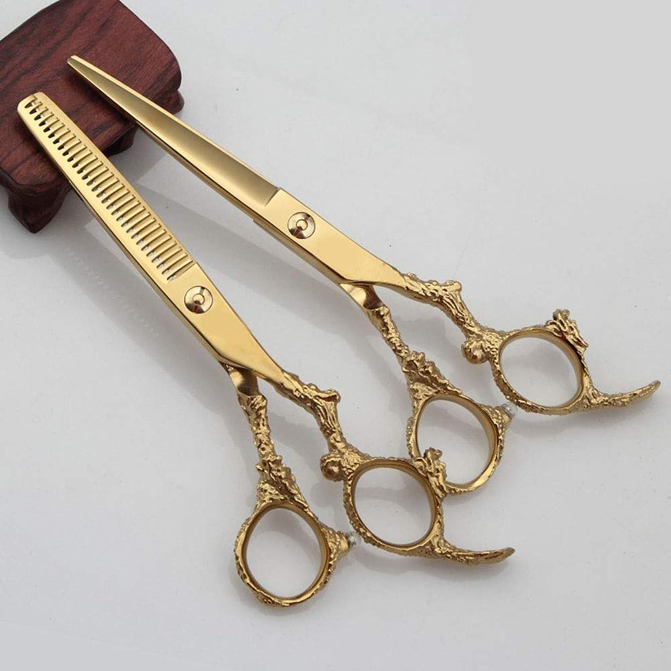 レジトランペットかどうか6インチ美容院プロフェッショナル理髪セットフラットシアー+歯はさみセット モデリングツール (色 : ゴールド)
