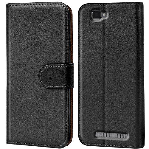 Verco Blade A612 Hülle, Handyhülle für ZTE Blade A612 Tasche PU Leder Flip Case Brieftasche - Schwarz