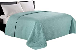 HollyHOME Coastal Style Super Soft Solid Single Shell Parttern Pinsonic Quilted Bed Quilt Bedspread Bed Cover, Turquoise, King