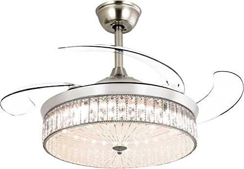 """2021 Ohniyou 42"""" online Retractable Ceiling Fan with Light, Crystal discount Chandelier Ceiling Fans Indoor with Light for Bedroom Living Room (Chrome Silver) outlet sale"""