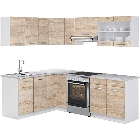 Corner Kitchen Dave Sonoma Oak 170 X 250 Cm Amazon De Kuche Haushalt