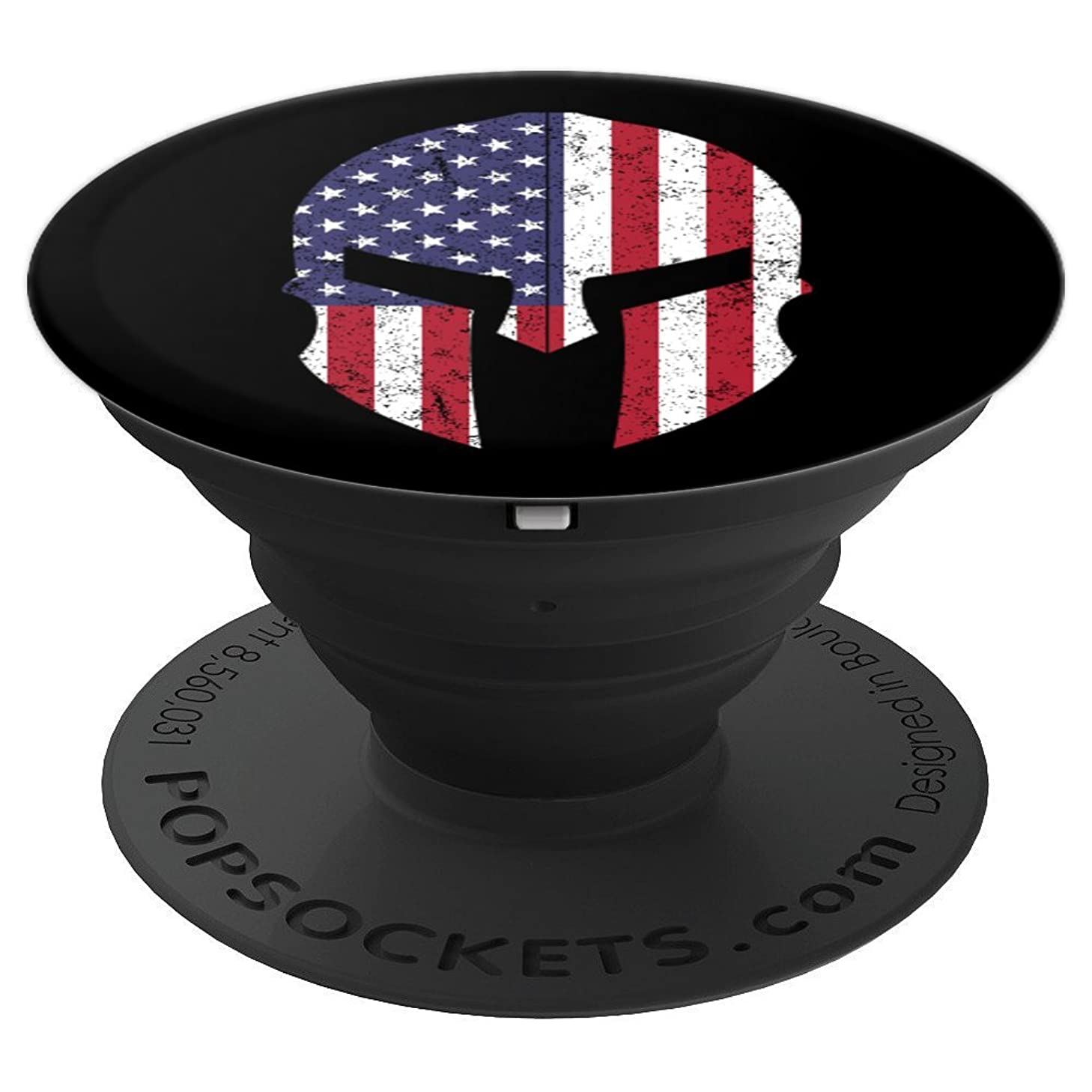 4th Of July American Flag USA Mens Gifts Spartan Helmet Mask - PopSockets Grip and Stand for Phones and Tablets