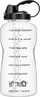 QuiFit Gallon Water Bottle with Straw and Motivational Time Marker Leak Proof BPA Free Reusable Large Capacity Sport Fitness Water Jug with Handle Ensure Your Daily Water Intake